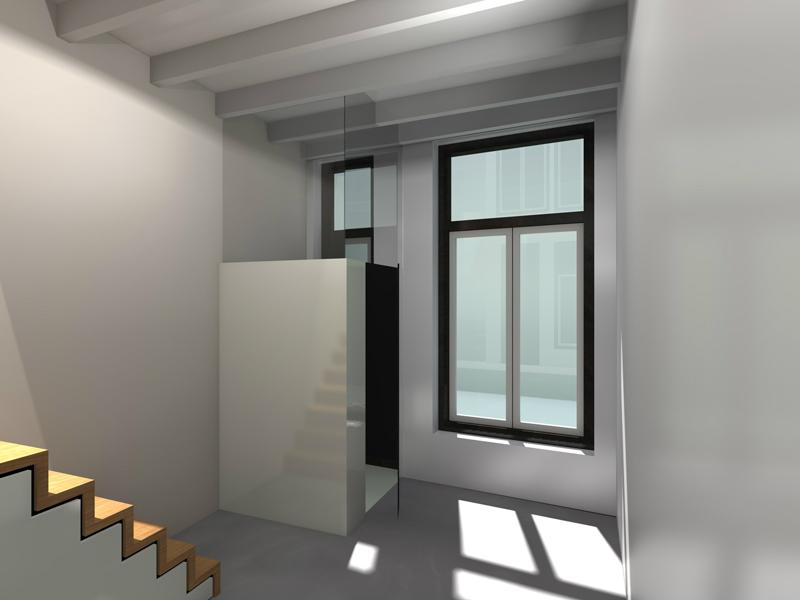 Ontwerp verbouwing woonkeuken smalle woning te zutphen studiowerk - Deco entree met trap ...